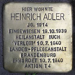 Photo of Heinrich Adler brass plaque