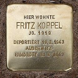 Photo of Fritz Koppel brass plaque