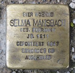 Photo of Selma Mansbach brass plaque