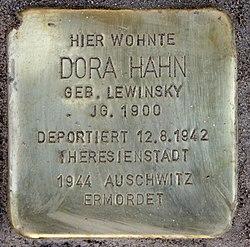 Photo of Dora Hahn brass plaque