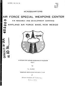"A black-and-white image of a document's first page. The words ""Air Force Special Weapons Centre"" are in large print above an image of a crest or seal, whilst the title ""A Study of Lunar Research Flights – Volume I"" is towards the bottom of the page."