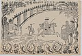 Suerte I- Bull entering the bullring after a law officer on horseback; two toreros standing to right MET DP875706.jpg