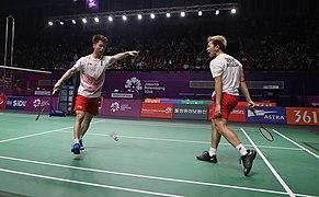 Sukamuljo and Gideon at the 2018 Asian Games men's team semi-final.jpg