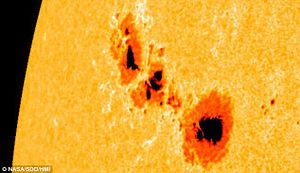 Sunspot - Image: Sunspots 1302 Sep 2011 by NASA
