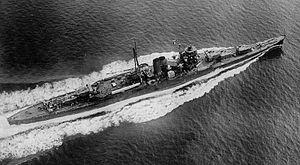 Japanese cruiser Suzuya (1934) - Overhead view of Suzuya during sea trials, 1935.