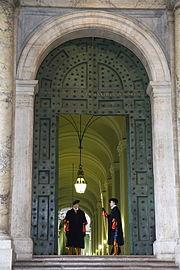 Swiss Guard at the Bronze Door