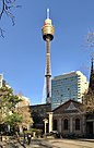 Sydney Tower (Centre Point Tower) seen from Queen's Square, Sydney.jpg