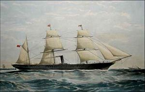 RMS Mooltan - SS Mooltan, 1865 lithograph by T G Dutton
