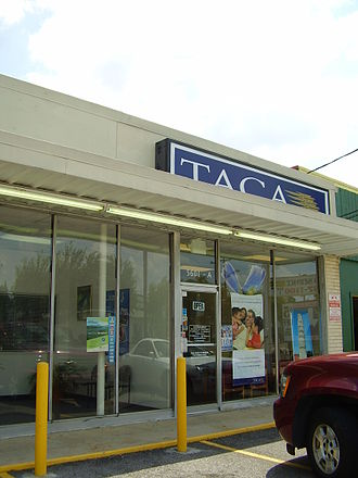 Hispanics and Latinos in Houston - Houston office of TACA Airlines in Gulfton