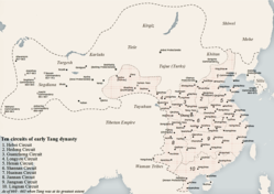 Map of the Tang dynasty at its greatest extent, c. 660s