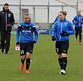 Tanja Pawollek und Nadine Anstatt beim Aufwaermen BL FCB gg. 1. FFC Frankfurt Muenchen-1.jpg