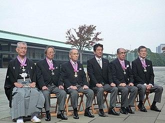 Susumu Nakanishi - Image: Tasuku Honjo Susumu Nakanishi Ikuta Takagi Shinzo Abe Shunichi Iwasaki and Goichi Oda 20131103