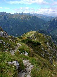 Widok na Tatry Zachodnie ze szlaku do Doliny Tomanowej.