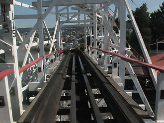 Brake run - Skid brakes are common on older wooden roller coasters, such as ''Thunderbolt'' at Kennywood