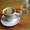 Tea with lemon and a glass of water, 2012.jpg