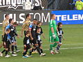 Teams come out at Union at Earthquakes 2010-09-15 1.JPG