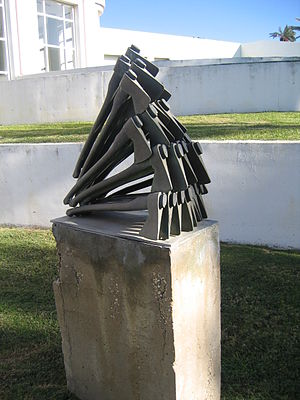 Arman - Avalanch (1990), Tel Aviv University campus.