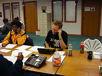 Telemarketing - Author and activist Bob Wood places one of his numerous phone calls to residents in Muskegon County, Michigan.