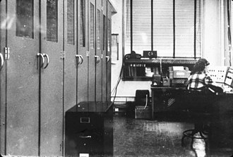 Robert Ledley - Terry Ledley operating the Standards Eastern Automatic Computer (SEAC) at the National Bureau of Standards in the early 1950s. Robert Ledley learned to program on this computer, first via paper tapes Terry brought to him and then by using the machine extensively himself.