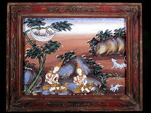 Vessantara Jataka - In Chapter 11, the children are cared for while Jujaka sleeps. This painting is from the 19th century, Thailand. In the collection of the Walters Art Museum
