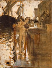 The Balcony, Spain [and] Two Nude Bathers Standing on a Wharf