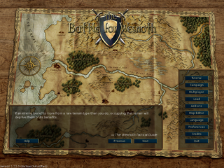 <i>The Battle for Wesnoth</i> open source, turn-based strategy game with a high fantasy theme