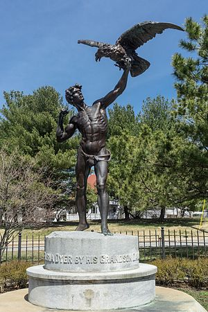 "Elisha Dyer - ""The Falconer"" is a memorial to Dyer."