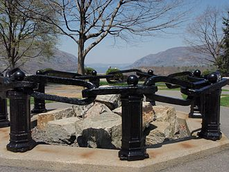 Chain - Links of the American Revolutionary War-era Hudson River Chain as a memorial at West Point