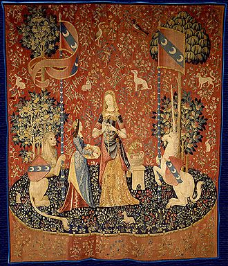 Olfaction - The Lady and the Unicorn, a Flemish tapestry depicting the sense of smell, 1484–1500. Musée national du Moyen Âge, Paris.