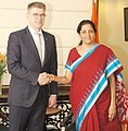 The Minister for Foreign Affairs and External Trade of Iceland, Mr. Gunnar Bragi Sveinsson meeting the Minister of State for Commerce & Industry (Independent Charge), Smt. Nirmala Sitharaman, in New Delhi on April 05, 2016.jpg