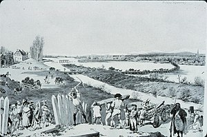 Wide river with pontoon bridge in background, and civilians and soldiers picking up palisades and wood in foreground.