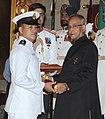 The President, Shri Pranab Mukherjee presenting the Padma Shree Award to Shri Ngangom Dingko Singh, at an Investiture Ceremony, at Rashtrapati Bhavan, in New Delhi on April 05, 2013.jpg