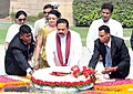 The President of Sri Lanka, Mr. Mahinda Rajapaksa laying wreath at the Samadhi of Mahatma Gandhi, at Rajghat, in Delhi on June 09, 2010.jpg