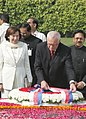 The President of the Czech Republic Mr.Vaclav Klaus and Mrs. Livia Klaus laying wreath at the Samadhi of Mahatma Gandhi, at Rajghat in Delhi on November 7, 2005.jpg