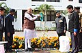 The Prime Minister, Shri Narendra Modi planting a sapling at Governor House, in Itanagar, Arunachal Pradesh (1).jpg