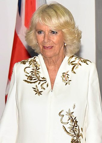 HRH The Duchess of Cornwall, daughter-in-law of the Queen The Prime Minister, Shri Narendra Modi with Their Royal Highness, the Prince of Wales and the Duchess of Cornwall, at Hyderabad House, in New Delhi on November 08, 2017 (1) (cropped 2).jpg