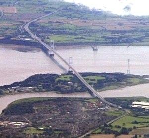 Severn Bridge - Aust Viaduct, Severn Bridge, Beachley Viaduct and Wye Bridge View from top left to bottom right