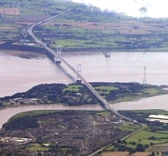 Severn Bridge - Aust Viaduct, Severn Bridge, Beachley Viaduct and Wye Bridge View from top left to bottom right