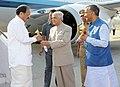 The Vice President, Shri M. Venkaiah Naidu being received by the Governor of Uttarakhand, Dr. K.K. Paul and the Chief Minister of Uttarakhand, Shri Trivendra Singh Rawat, on his arrival, in Dehradun, Uttarakhand.JPG