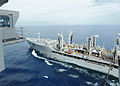 The fleet replenishment oiler USNS Henry J. Kaiser (T-AO 187), right, sails alongside the aircraft carrier USS Ronald Reagan (CVN 76) during a replenishment at sea May 8, 2013, in the Pacific Ocean 130508-N-HT107-061.jpg
