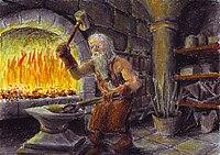 Thorin II Escudo de Carvalho, antes de ser rei, numa forja nas montanhas azuis