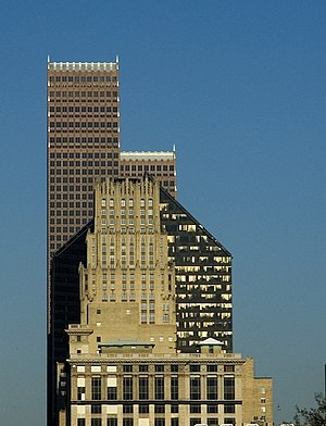 Architecture of Houston - Three eras of buildings in Houston - JPMorgan Chase Building, 1920s, Pennzoil Place, 1970s, and Bank of America Center, 1980s