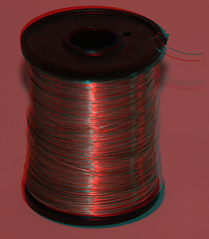 A red/cyan anaglyph of a reel of tinned copper...