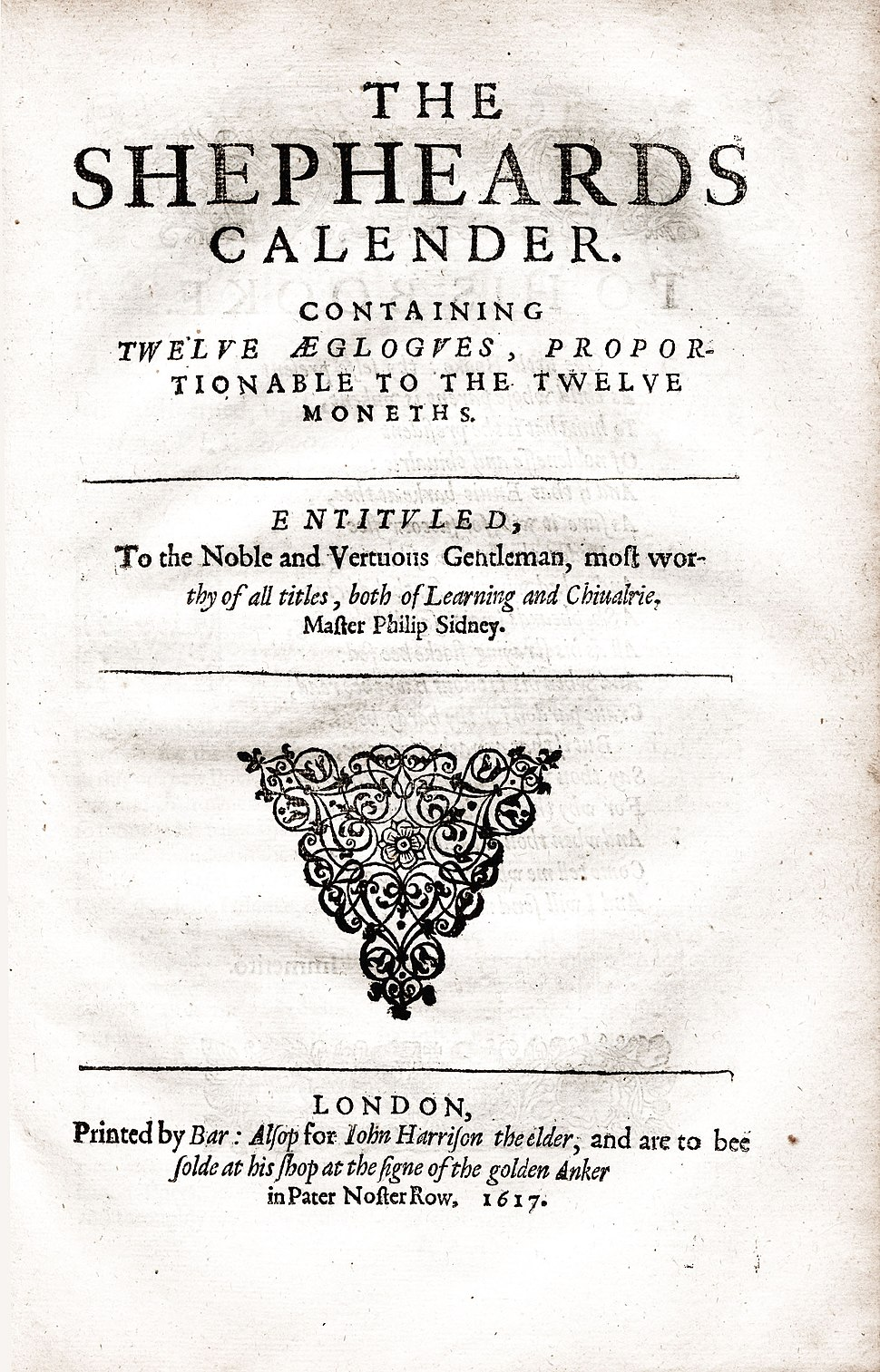 Title Page of a 1617 Edition of The Shepherd's Calendar