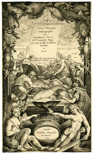 Francis Willughby - Title page, Historia piscium, Oxford, 1686