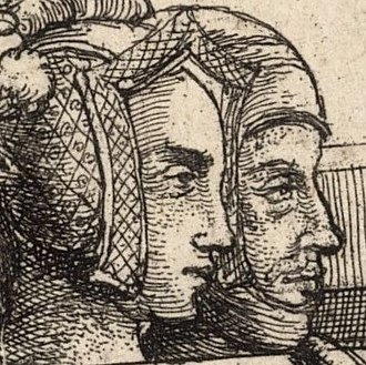 Blanche of Lancaster - Blanche of Lancaster and John of Gaunt on their tomb monument in St Paul's Cathedral, as depicted in 1658 by Wenceslaus Hollar. Anachronistic inaccuracies include Blanche's early-16th-century-style gable headdress