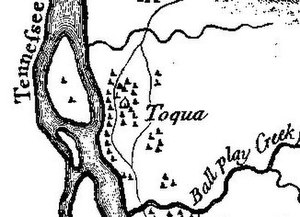 """Toqua (Tennessee) - Toqua on Henry Timberlake's 1762 """"Draught of the Cherokee Country"""""""