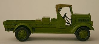 Toyota G1 - Scale model of a Toyota KC aircraft starter truck, minus the starting equipment. This is a very early version that still has curved guards over the wheels. Later versions had flat guards and a single headlight.