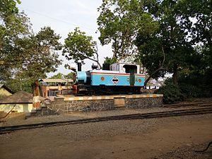 Matheran Hill Railway - A steam locomotive plinthed at Matheran station
