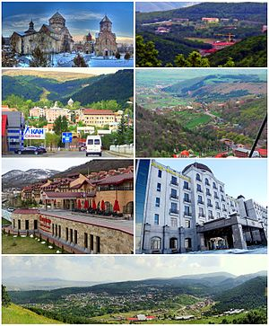 From top, left to right: Kecharis Monastery • Tsaghkadzor Olympic Complex Downtown Tsaghkadzor • Tsaghkadzor skyline Mariott Tsaghkadzor • Golden Palace Hotel Tsaghkadzor with Tsaghkunyats Mountains